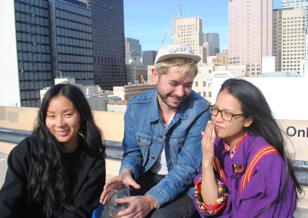 Valerie wore her trademark black head to toe and Katie inspired us with a fabulous #Chinatownpretty windbreaker while Christian sported a casual Levi's jean jacket and Oakland Surf Club cap.