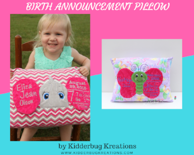 Birth Announcement Pillows for Girls