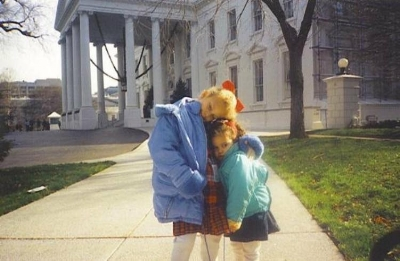 Lindsey and her younger sister, Natalie, outside the White House in Washington, circa 1995.