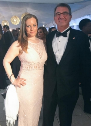 Lindsey with then-Secretary of Defense Ash Carter at the White House Correspondents' Association Dinner in Washington, April 2016.