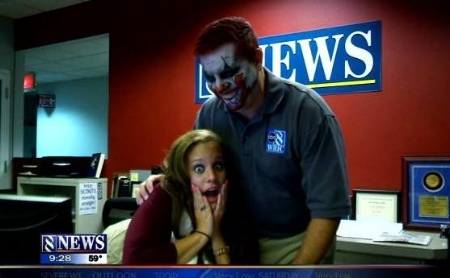 "Lindsey gets spooked by an anchor zombie on WRIC-TV's ""8News at 9,"" October 2013."