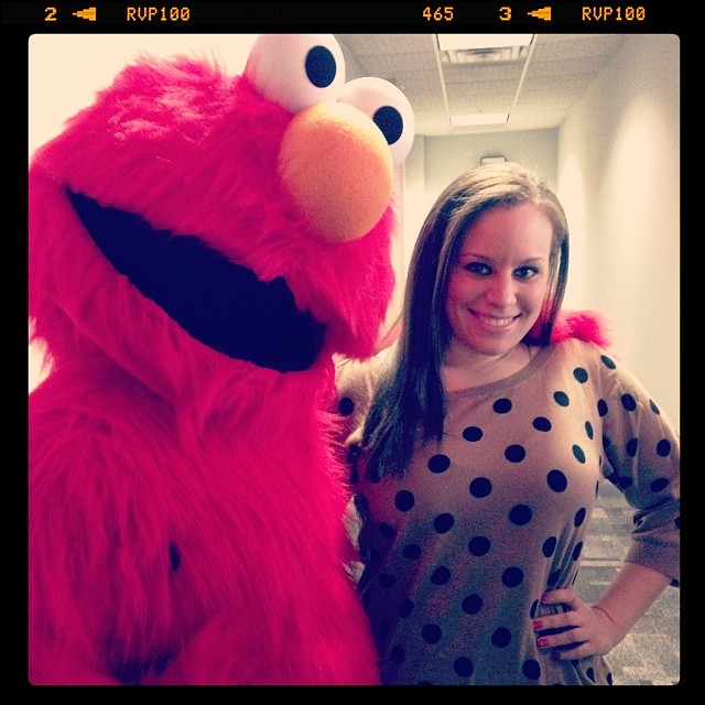 Elmo visits the WRIC-TV newsroom, April 2014.