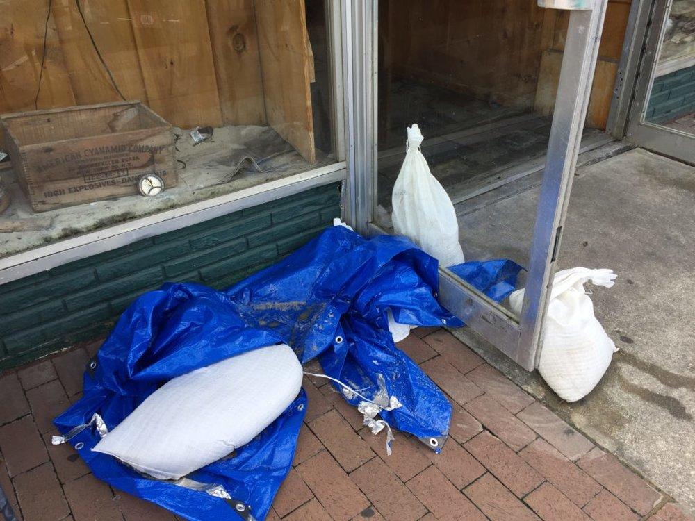 Sandbags on the sidewalk in Georgetown, S.C., Tuesday, Sept. 12, 2017. (Lindsey Leake)