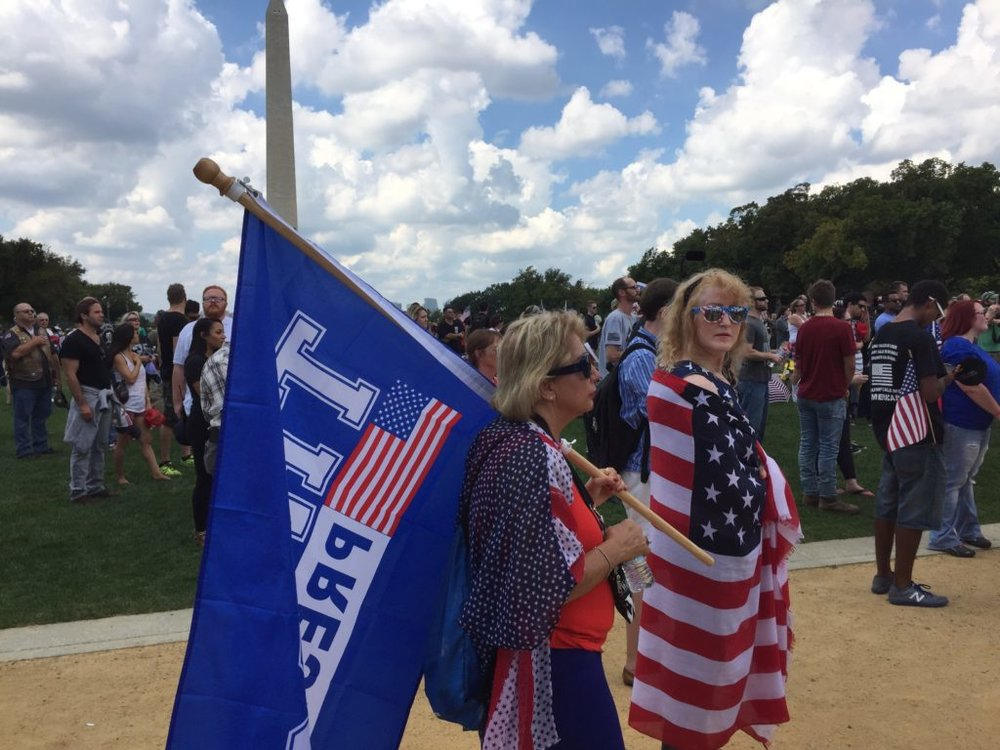 Supporters of President Donald Trump gather on the National Mall in Washington for the Mother of All Rallies, Saturday, Sept. 16, 2017. (Lindsey Leake)