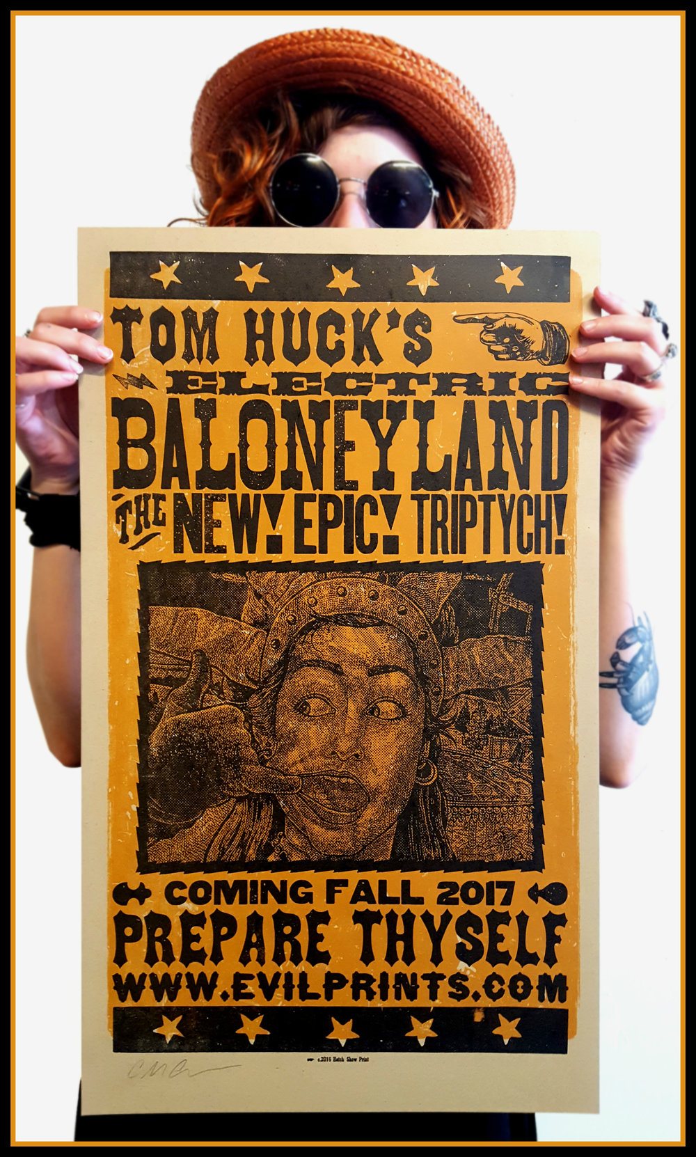 Poster printed by Hatch Show Print, Nashville TN