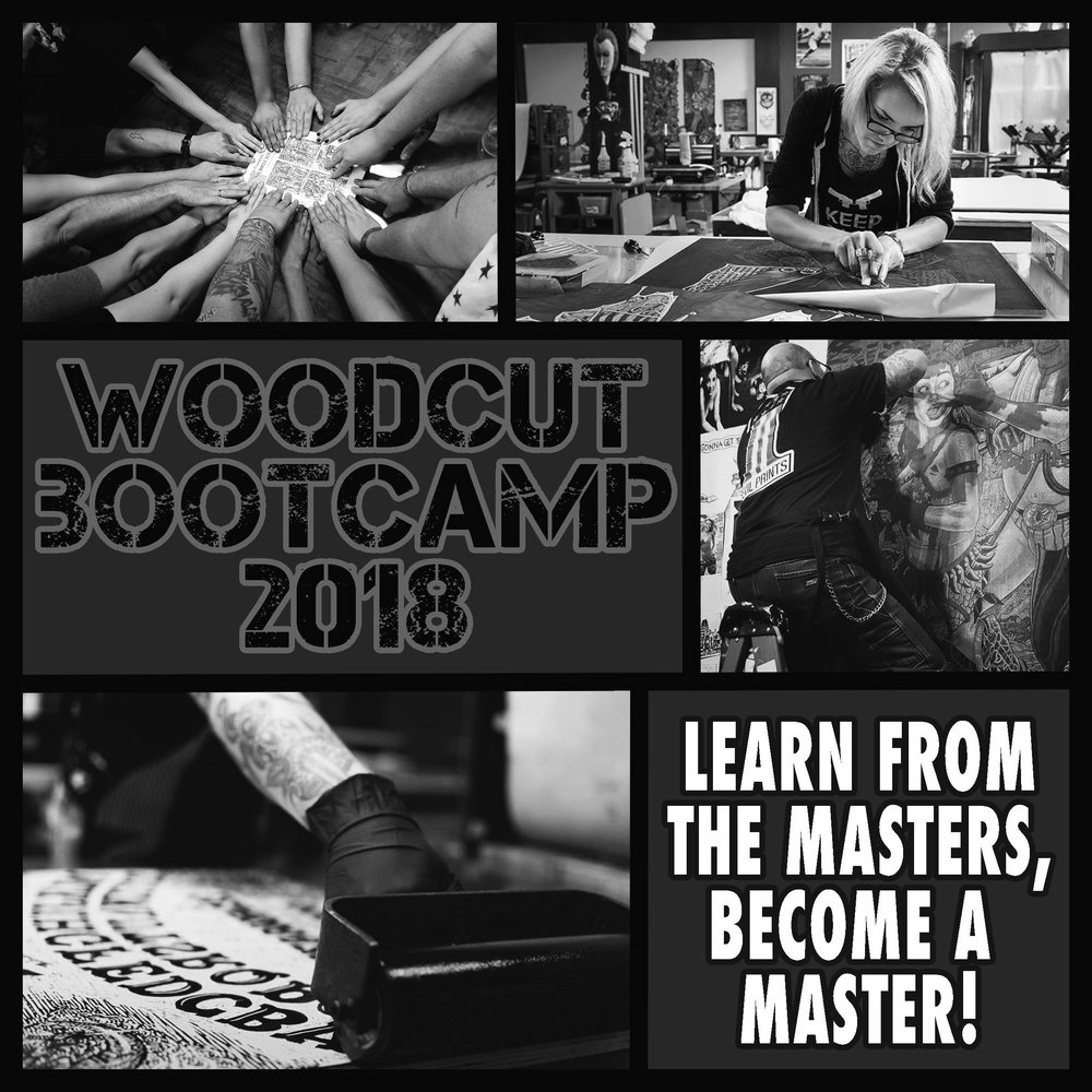 COME AND MAKE PRINTMAKING HISTORY AT EVIL PRINTS! LIVE, WORK, & PLAY WHILE MAKING LARGE SCALE WOODCUTS AT WOODCUT BOOTCAMP 2018! FOR MORE INFORMATION AND TO REGISTER CLICK HERE!
