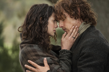 "Sam Heughan and Caitriona Balfe in Outlander, ""The Devil's Mark"" 