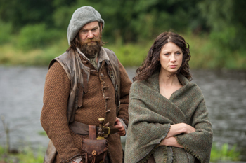"Duncan Lacroix and Caitriona Balfe in Outlander, ""The Search"" 