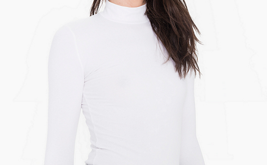 American Apparel Cotton Spandex Long Sleeve Turtleneck top   click here  . Colour: White Wash: Coming soon...