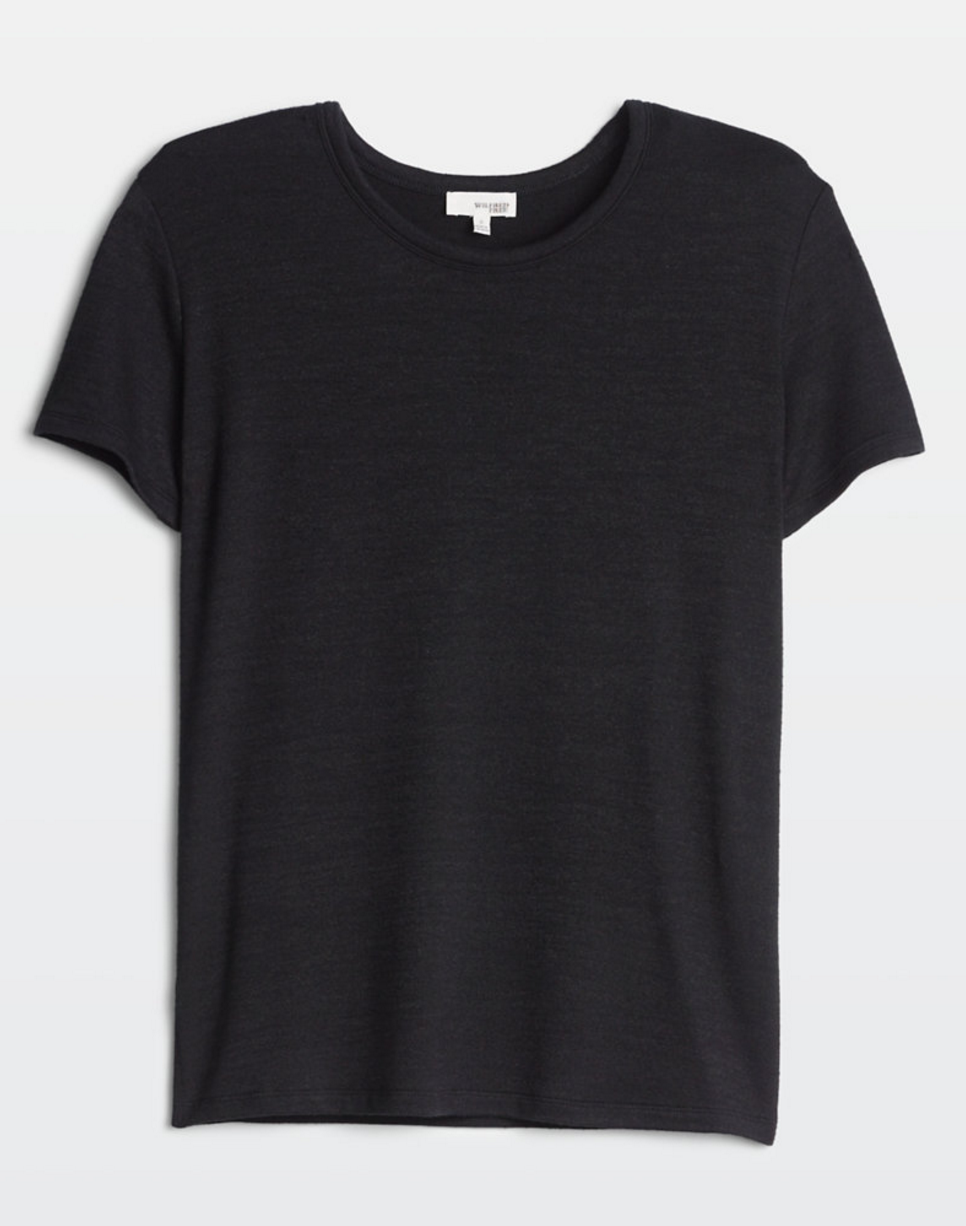 Aritzia Black T-shirt   click here  . Tuck this shirt in to have the same effect as the body-suite!
