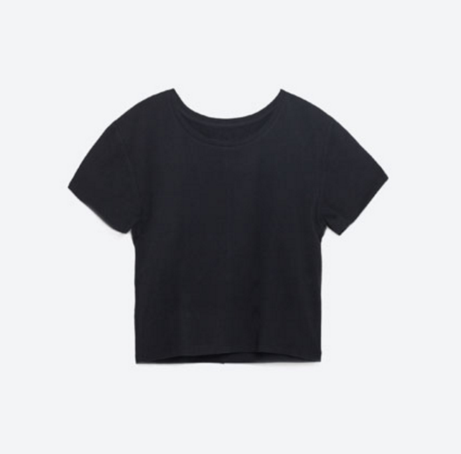 Zara Semi cropped black t-shirt   click here  .