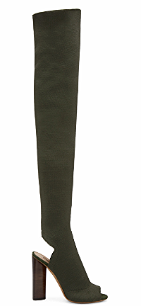 Yeezy Season 2  Thigh-high green open toe boot   click here  .