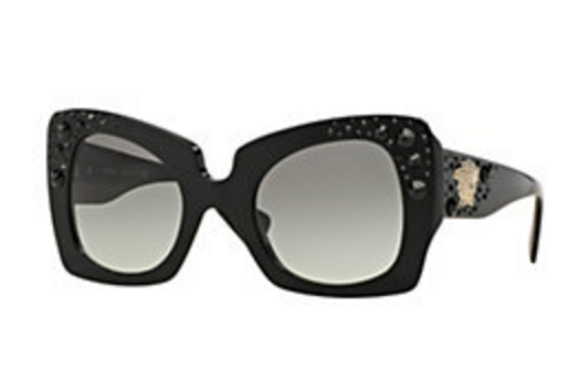 Versace  Crystal Charm Black Sunglasses    click here  .  (If you don't want the charms, simply call a Versace store near you and request the black Onul sunglasses without the crystals).