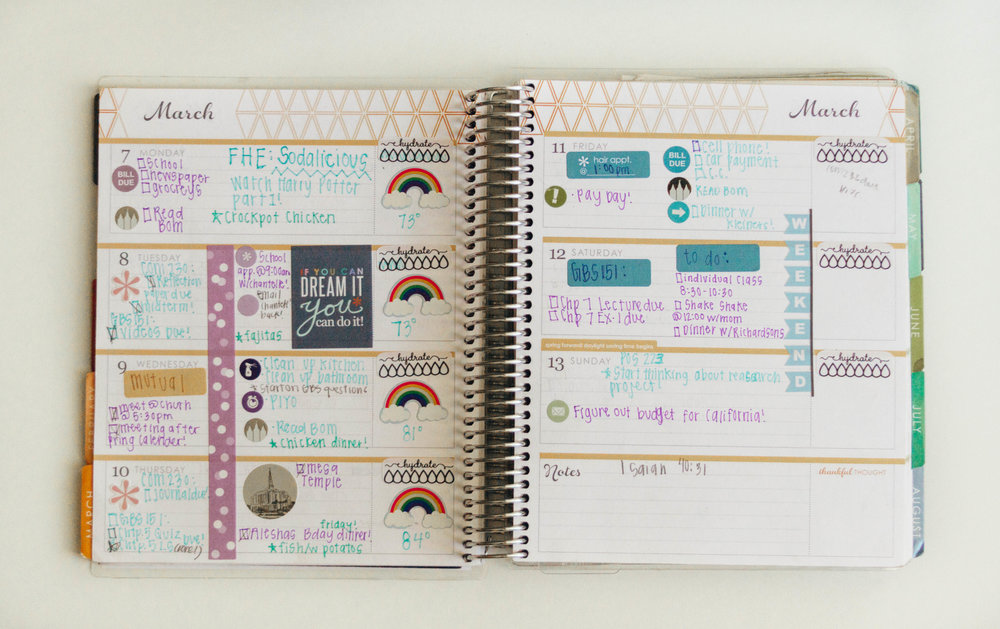 This is typically how I will organize my calendar I will even add photos if something eventful happens that week! That way every year I can go back and see what I did that week!