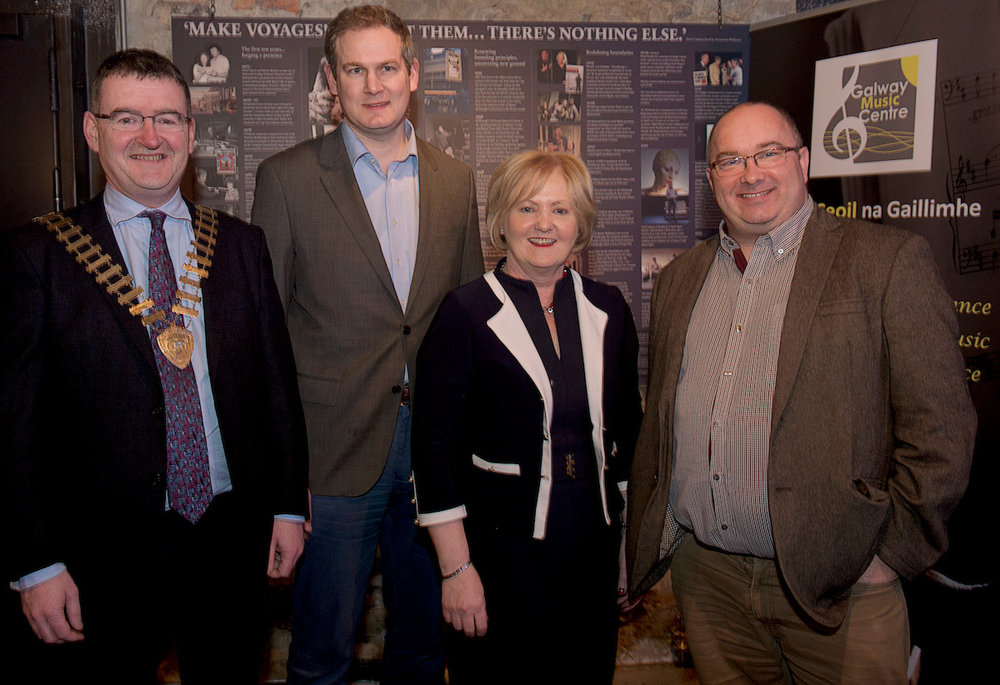 President of Galway Chamber of Commerce, Colin O'Dowd; Minister of State for Gaeltacht Affairs and Natural Resources, Seán Kyne TD; Mary Dooley (Chair of GMC Board); and Senator Trevor Ó Clochartaigh.