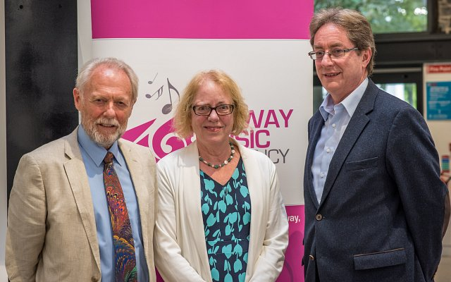 """Pictured at the Galway Music Residency's autumn launch were (l-r)Michael Cuddy (Chair of GMR), Jane O'Leary (Board Member) and President of NUI Galway, Jim Browne.   On Sunday 27 August last, the Galway Music Residency (GMR) announced a 5-year partnership with NUI Galway, with the University becoming its Education Partner. The partnership will give Galway Music Residency an important role in the provision of expertise in the field of music to staff and students at the University, through collaboration on academic programmes and performances. Launching the partnership at the O'Donoghue Centre for Drama, Theatre and Performance, President of NUI Galway, Dr Jim Browne, emphasised the history of the relationship between the two organisations spanning well over a decade: """"As we formalise and cement our partnership, we look forward to a host of performance and education programmes that will continue on campus as both organisations look toward the new BA in Music, which will commence at NUI Galway in September 2018.""""  The President also launched GMR's September–December season. Featuring favourite series such as Lunchtimes with ConTempo,3 Saturdays: 3 Kinds of Music,ConTempo Countywide and Contempo/Raneous, a series of cross-genre partnerships, the programme promises to delight Galway audiences of all ages and locations in the autumn and winter months.  Other highlights will include the world premiere of composer Amanda Feery's new piece for String Quartet and Uilleann pipes, co-commissioned by Galway City Council, on 17 November at 8.30pm in the Black Gate Cultural Centre. This event will be the second in GMR's new series entitled Music & Musings, which is dedicated to contemporary Irish compositions and features both performance and conversations with composers and artists.  Just in time for Halloween, ConTempo quartet will perform a live score at a screening of Nosferatu – the 1922 silent film depicting the story of Dracula. This unique event, taking place in the Huston"""