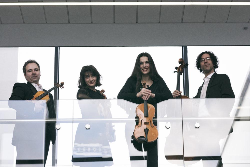 Bogdan Sofei (violin), Ingrid Nicola (violin), Andreea Banciu (viola) and Adrian Mantu (cello).