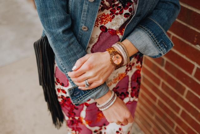 Jord watch (https://www.woodwatches.com/#peachandpepper) and Lily & Laura bracelets (https://www.lilyandlaurabracelets.com/)