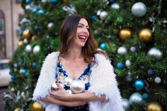 Sequin tank from Free People Cherry Creek....Photo taken in front of the Cherry Creek Shopping Center Christmas tree.