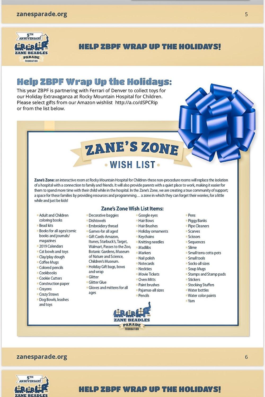 Zane's Parade Wishlist (you can shop on AmazonSmile)