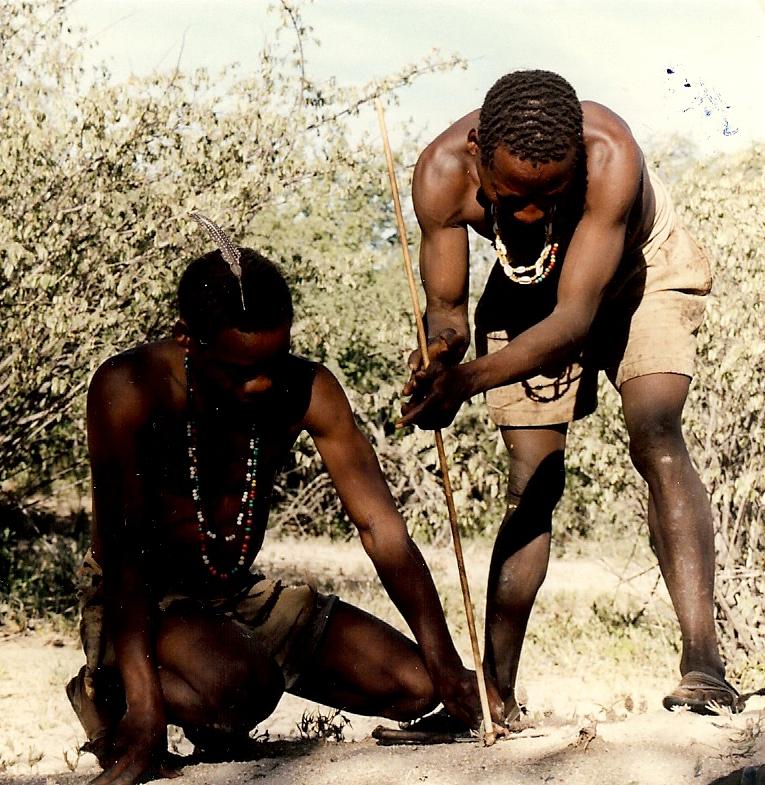Hadza bushmen starting a fire