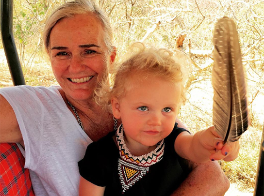 Anne with her granddaughter on safari in Kenya