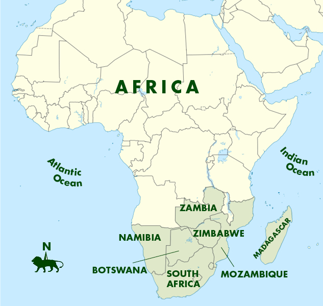Botswana South Africa Map.Southern Africa A K Taylor International