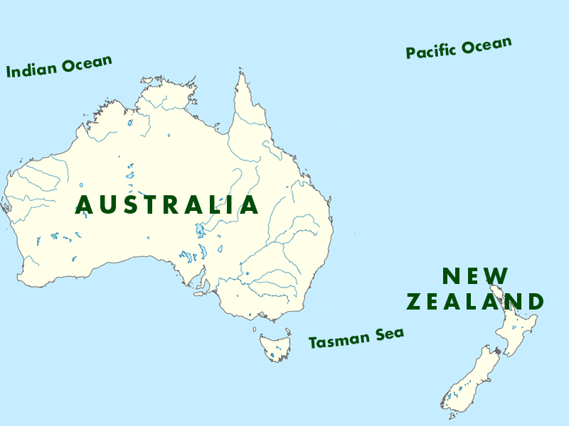 Australia New Zealand AK Taylor International - Map of australia and new zeland