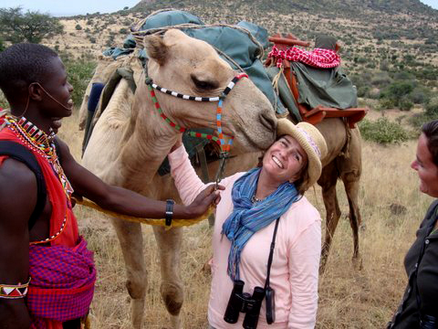 Anne and Farley on a camel safari