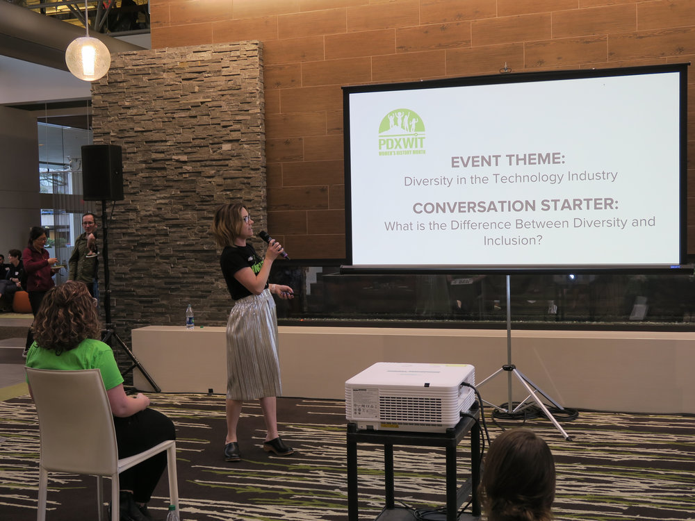 PDXWIT March Happy Hour @ Cambia Health, 3/19/19, Megan Bigelow - PDXWIT Board President and Founder - presents
