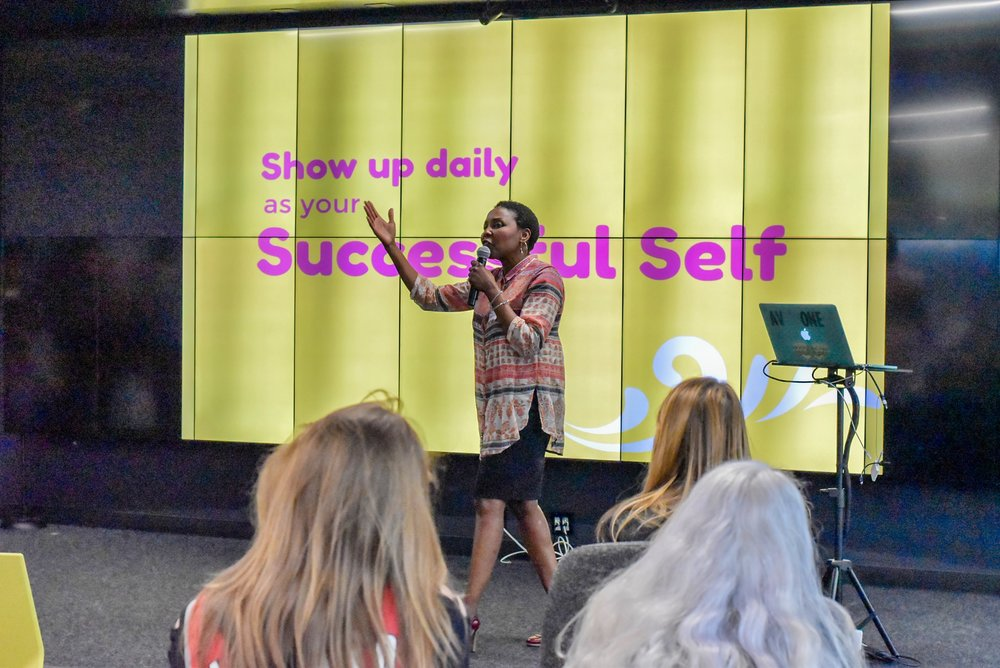 PDXWIT April Happy Hour @ New Relic, 4/16/19, Chikeola Karimou - Lifestyle Mentor - speaks