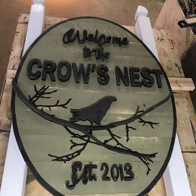 Welcome to the crows nest. #signs #signage #crowsnest . . . . . . . #woodworking #woodworkforall  #palospark  #woodwork #design #rusticdesign #rustic #handmade #schaverwoodshop #decor #woodworker #craftsman #chicagodesigner #craftsmanship #chicago #dowoodworking #mywworg #woodshop #carpenter #woodwork_feature #scrollsaw