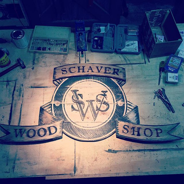 Up late working on a logo sign #signs #signage . . . . . #woodworking #woodworkforall #reclaimedwood #reclaimedtable #woodtable #palospark #woodwork #design #rusticdesign #interiordesign #rustic #handmade #schaverwoodshop #decor #woodworker #craftsman #chicagodesigner #craftsmanship #chicago #interior #dowoodworking #mywworg #woodshop #carpenter #woodwork_feature