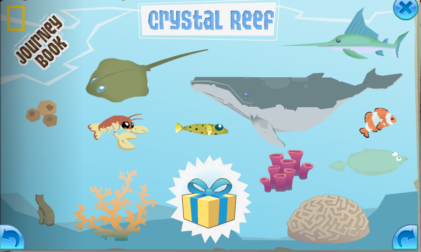 The completed Crystal Reef page in the Journey Book