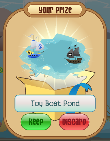 Your prize, the Toy Boat Pond!