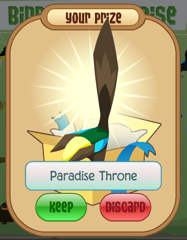 Your prize, the Paradise Throne!