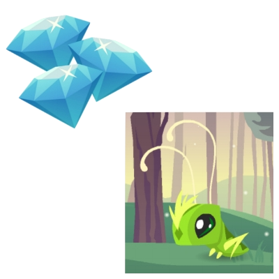 30 = Pet Grasshopper + 3 Diamonds
