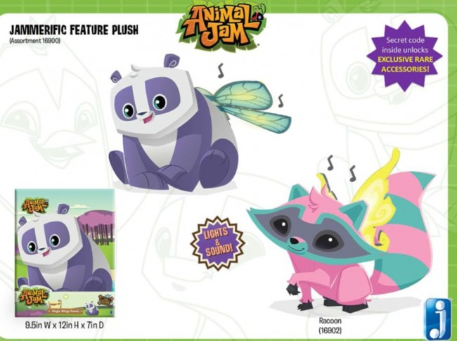 Panda and Raccoon feature plush.