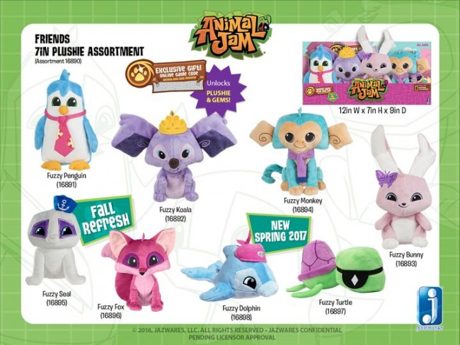 New Seal, Fox, Dolphin, and Turtle plushies.