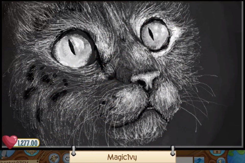 Thirdly, we have  Magic1vy 's realistic cat art. The small brush strokes are wonderful, and the anatomy is great!