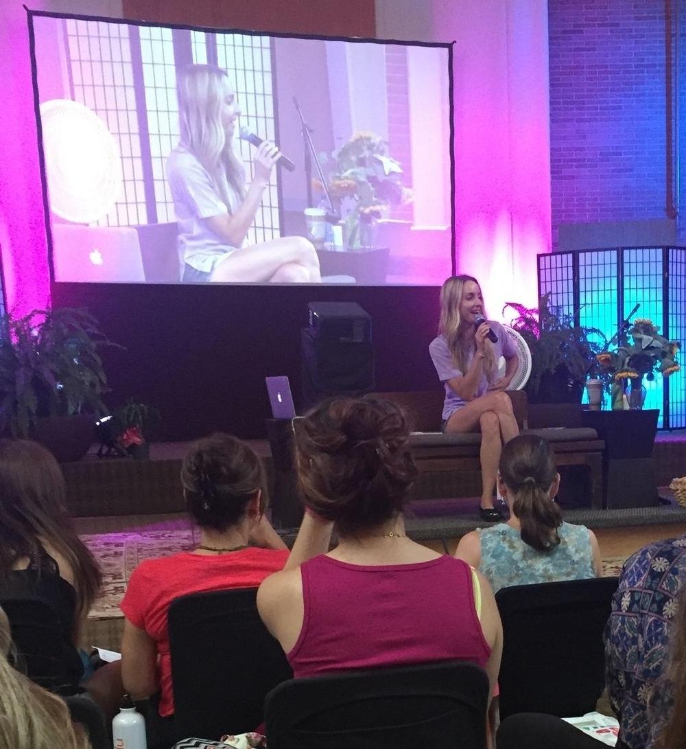 Gabby sharing her Spirit Junkie wisdom at Kripalu