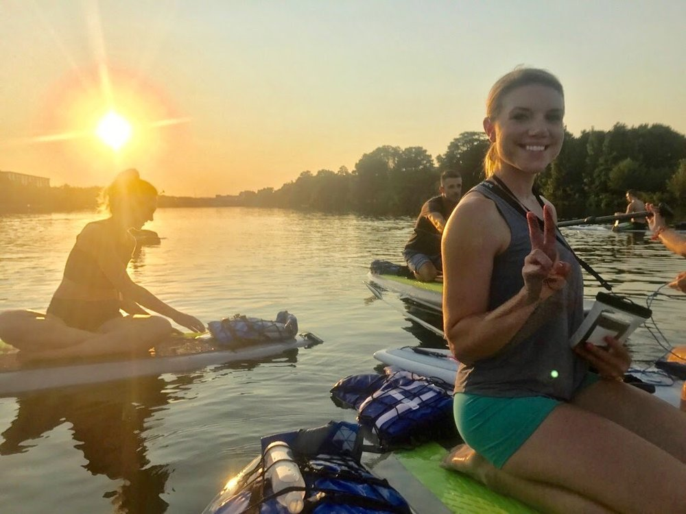 Before my first (sunset) SUP yoga class (it was actually really hard!).