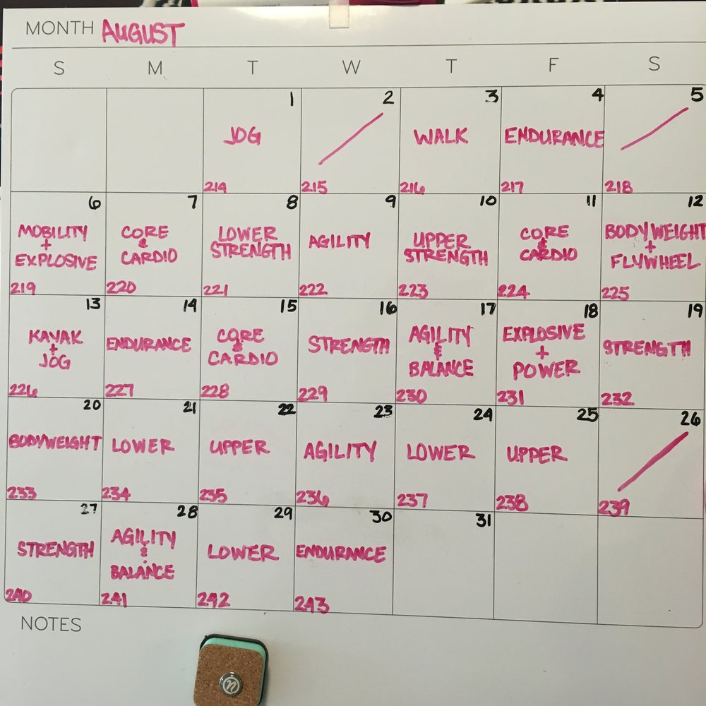 This simple dry-erase calendar is my go-to method to track both my workouts & how many days I've been sober (the number in the bottom right). I know there's an app that does helps with these, but I'm partial to this method.