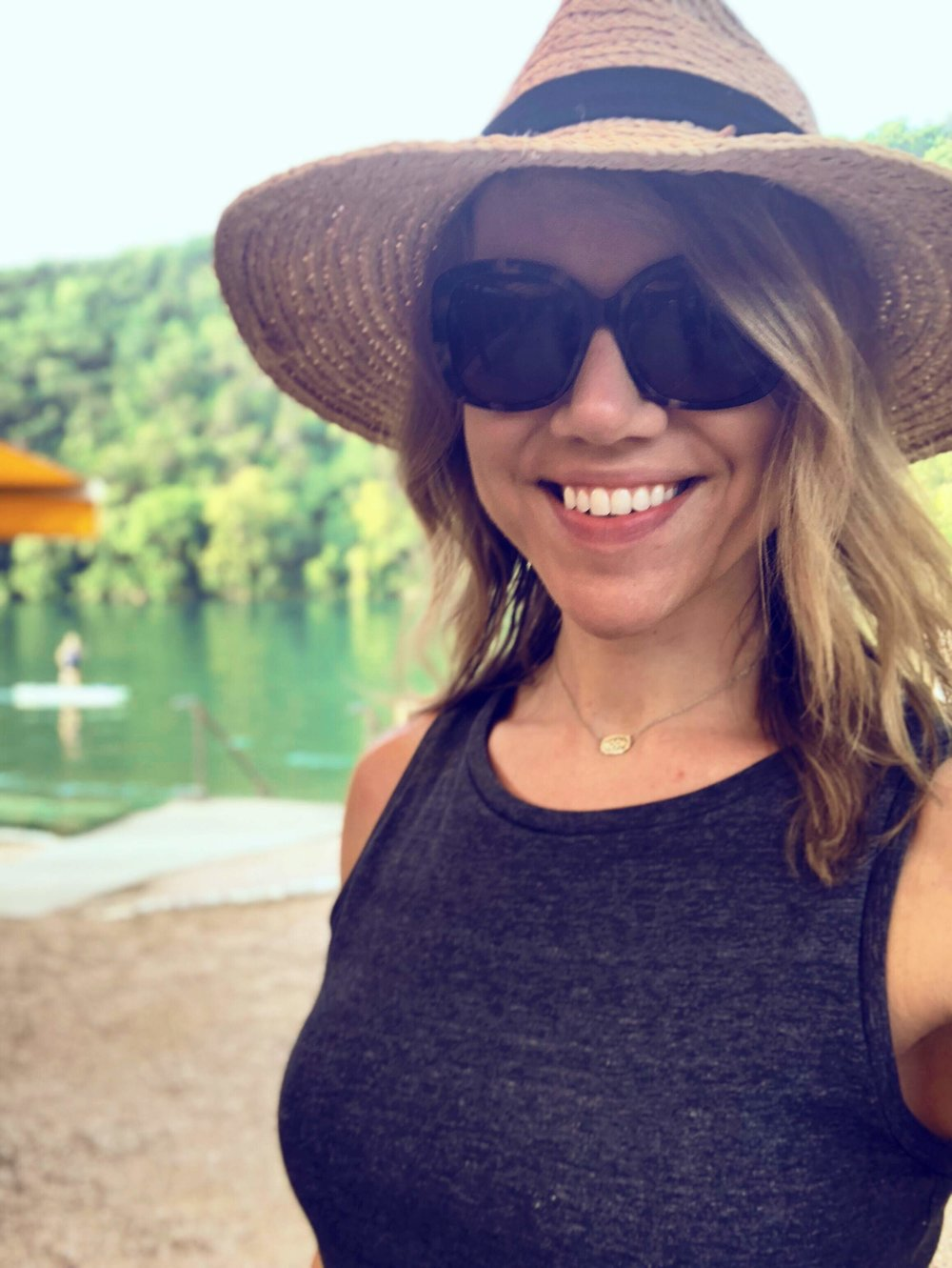 I've got my big hat, shades & a smile…pretty much all you need to enjoy a day at Lake Austin Spa Resort.