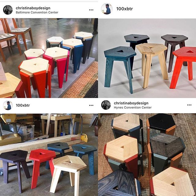 Thought this was interesting:) Both are awesome stools by really cool designers that are being made at the same time but on different coasts. The bases are different. Christina's stack, which is a bonus. I believe both are made from ash and the colors! Right? Both designers thought these were the right colors for their stools. Myself? I want to collect them both to celebrate the strangeness of the world and this wonderful phenomenon!! You should too!!! @christinaboydesign I am pleased to introduce you to @100xbtr