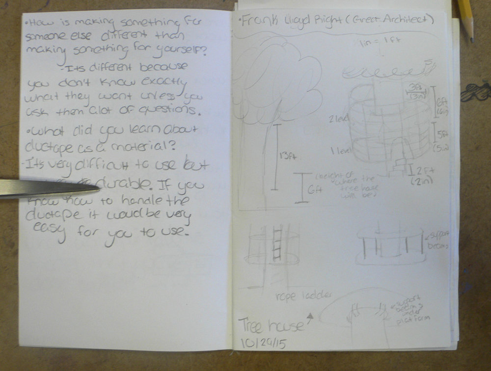 Students make notes and drawings as their ideas evolve, thinking critically about the choices they are making.