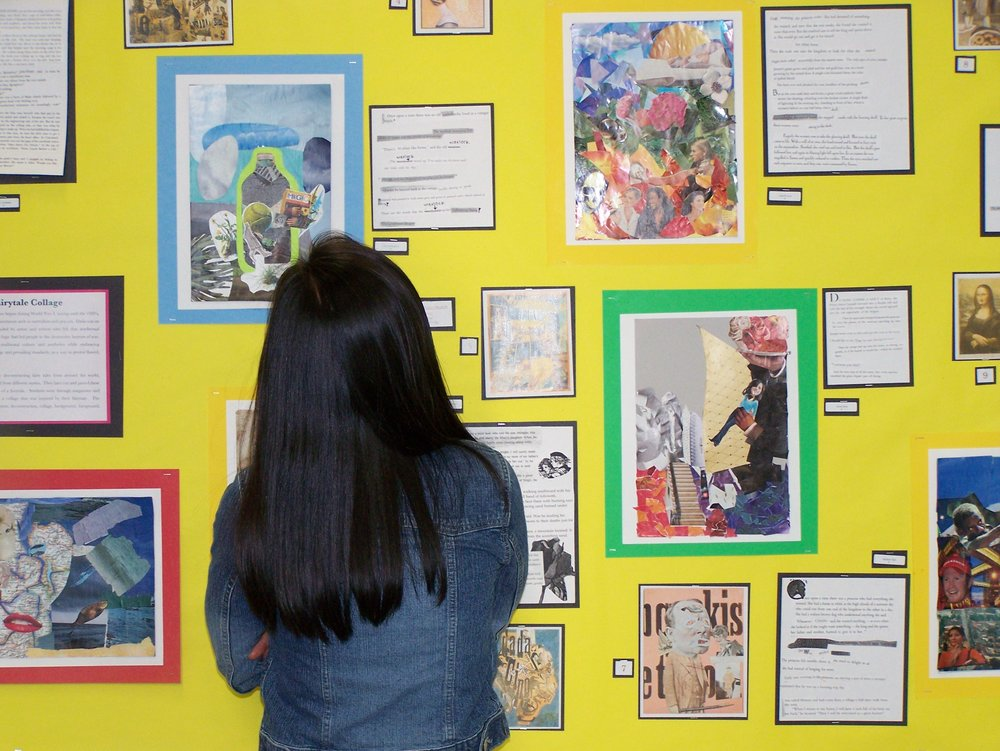 Exhibitions are moments for the community to come together and celebrate the making that has happened in the art studio.  Next to the work, students add their reflections and, at times, images of their process.