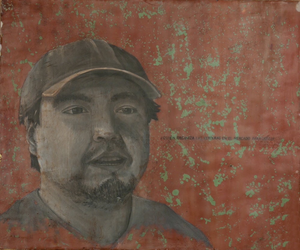 "Beto  encaustic on wood, 28"" x 32""  2009"
