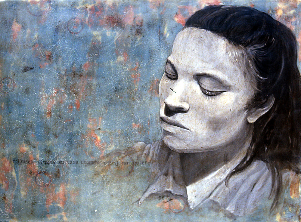 "Maria  encaustic on wood, 28"" x 32""  2009"