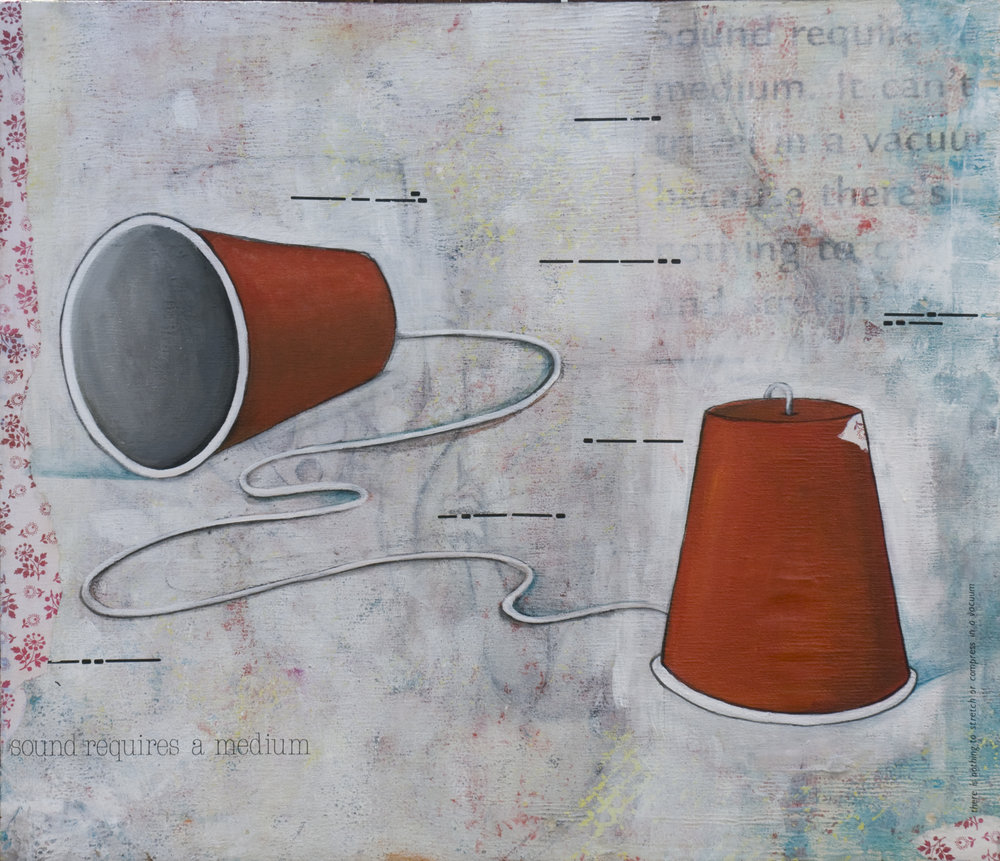 "Sound Vacuum  Mixed Media on Wood Panel, 32"" x 36""  2011"